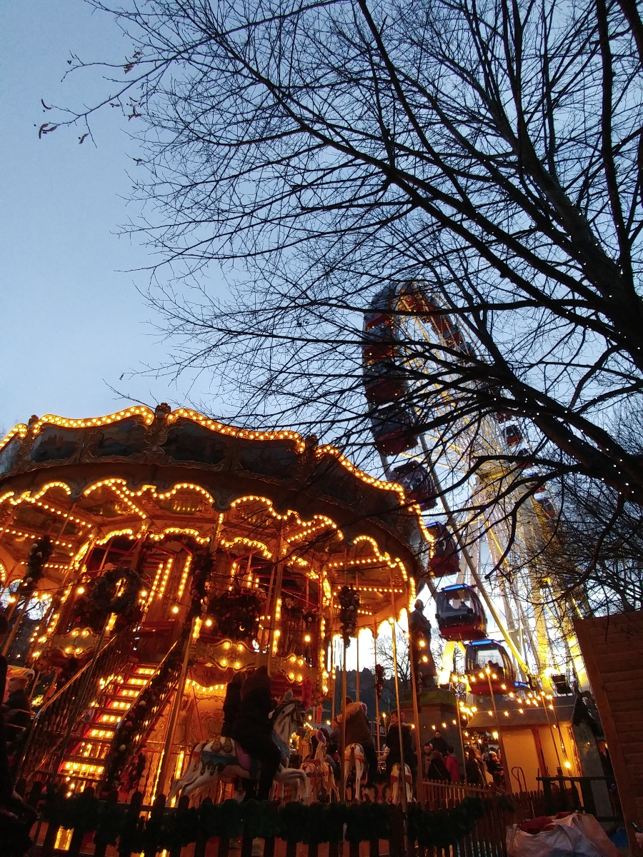 Christmas Market at night, Edinburgh